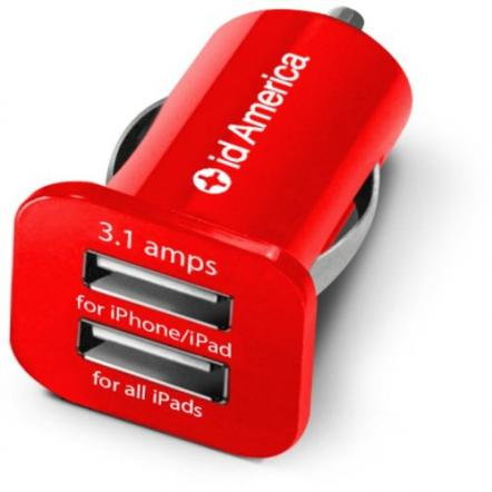 id America Dual USB Car Charger 【Red】