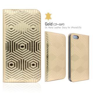 レザーなのにメタリック D4 Metal Leather Diary ゴールド iPhone SE/5s/5手帳型ケース