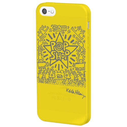 【iPhone SE/5s/5ケース】Keith Haring Collection  iPhone 5 POP SHOP/Yellow x Gray_0