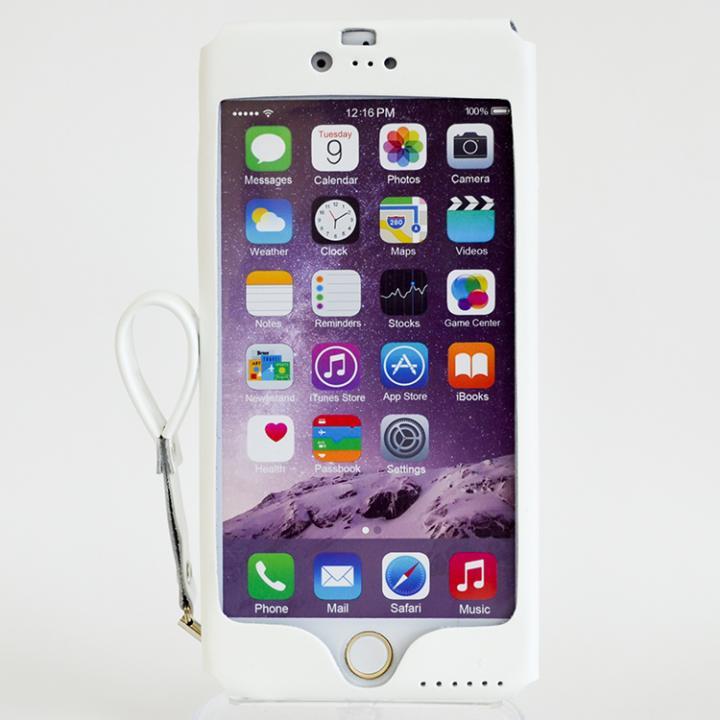 mobakawa レザーストラップ付き ラバー調加工 ホワイト iPhone 6s Plus/6 Plus