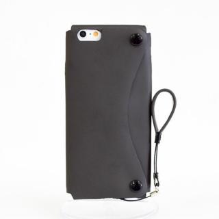 【iPhone6ケース】本革一枚で包み込むケース mobakawa レザーストラップ付き ラバー調加工 ブラック iPhone 6_4