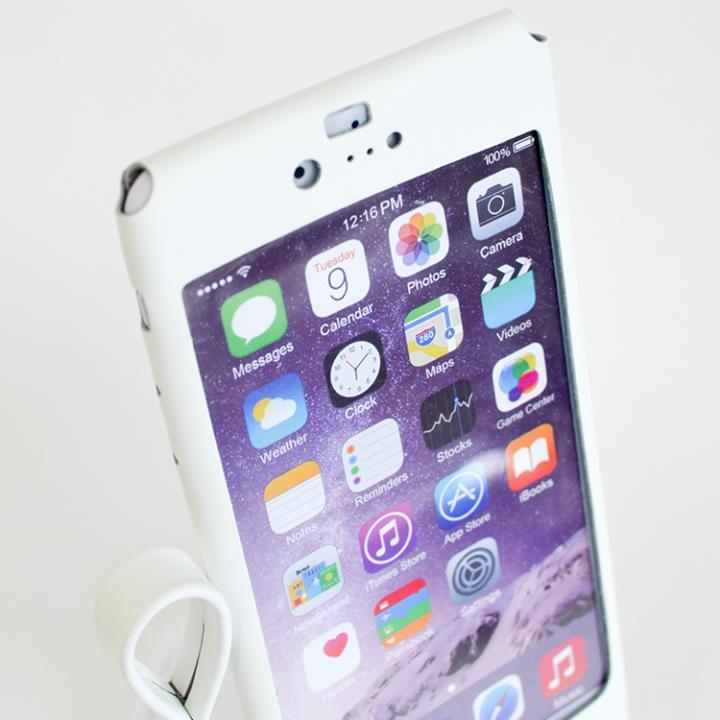 本革一枚で包み込むケース mobakawa レザーストラップ付き ラバー調加工 ホワイト iPhone 6