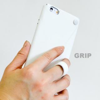 【iPhone6ケース】本革一枚で包み込むケース mobakawa レザーストラップ付き ラバー調加工 ホワイト iPhone 6_1