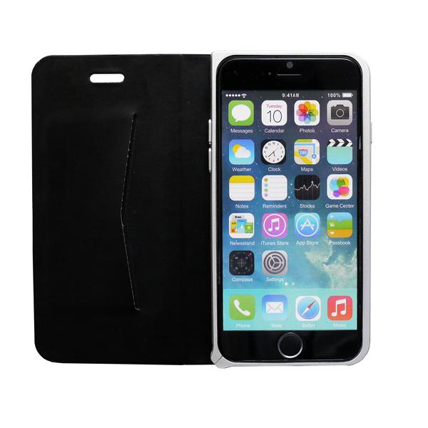 【iPhone6ケース】手帳×アルミバンパーケース Cuoio 黒×シルバー iPhone 6_0