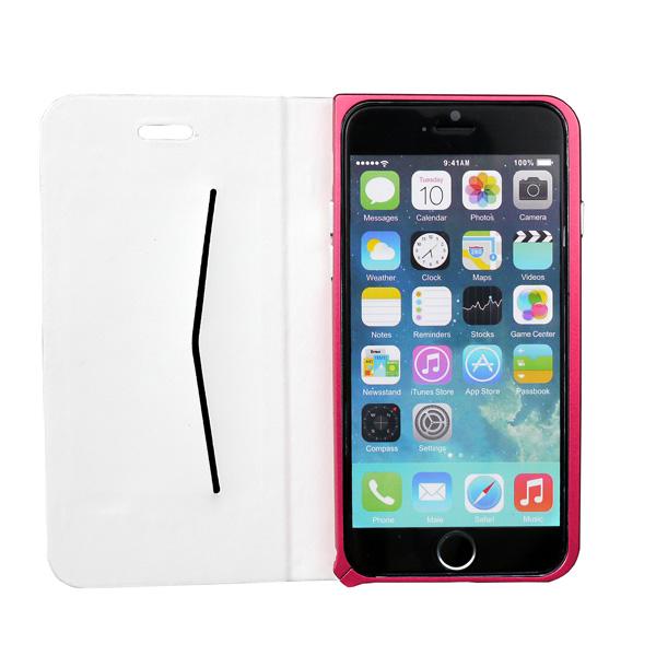 【iPhone6ケース】手帳×アルミバンパーケース Cuoio 白×レッド iPhone 6_0