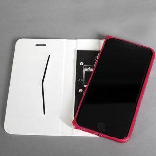 【iPhone6ケース】手帳×アルミバンパーケース Cuoio 白×レッド iPhone 6_2