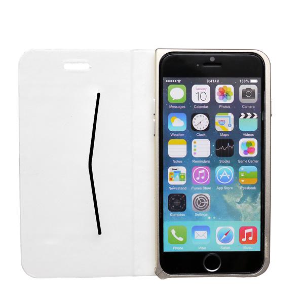 【iPhone6ケース】手帳×アルミバンパーケース Cuoio 白×ゴールド iPhone 6_0