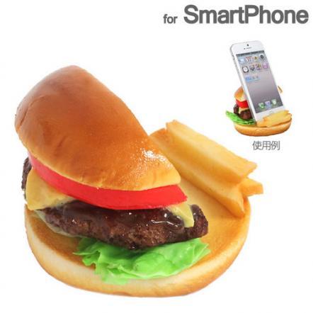 食品サンプルスマホスタンド チーズバーガー iPhone 5s/5c/5/4s/4