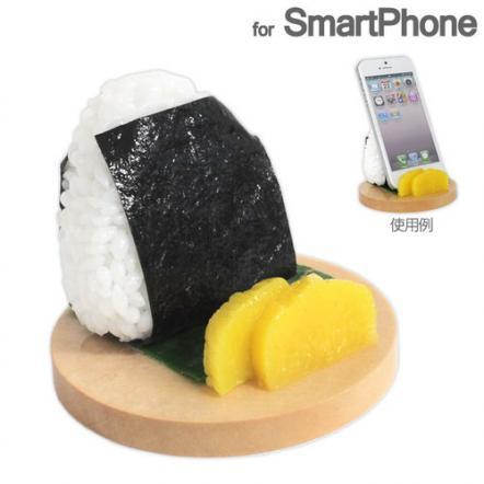 食品サンプルスマホスタンド おにぎり/のり iPhone 5s/5c/5/4s/4/Android