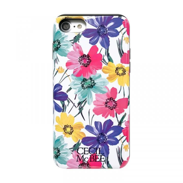 iPhone8/7/6s/6 ケース CECIL McBEE スタンドミラー付きカード収納型背面ケース スイートピー/WHITE iPhone SE 第2世代/8/7/6s/6_0
