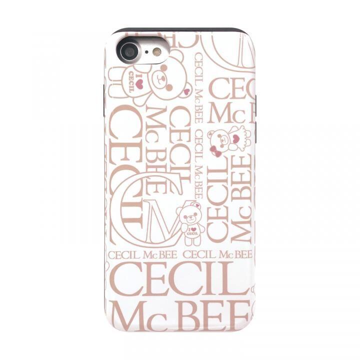 iPhone8/7/6s/6 ケース CECIL McBEE スタンドミラー付きカード収納型背面ケース LOGO/WHITE iPhone SE 第2世代/8/7/6s/6_0