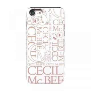iPhone8/7/6s/6 ケース CECIL McBEE スタンドミラー付きカード収納型背面ケース LOGO/WHITE iPhone 8/7/6s/6