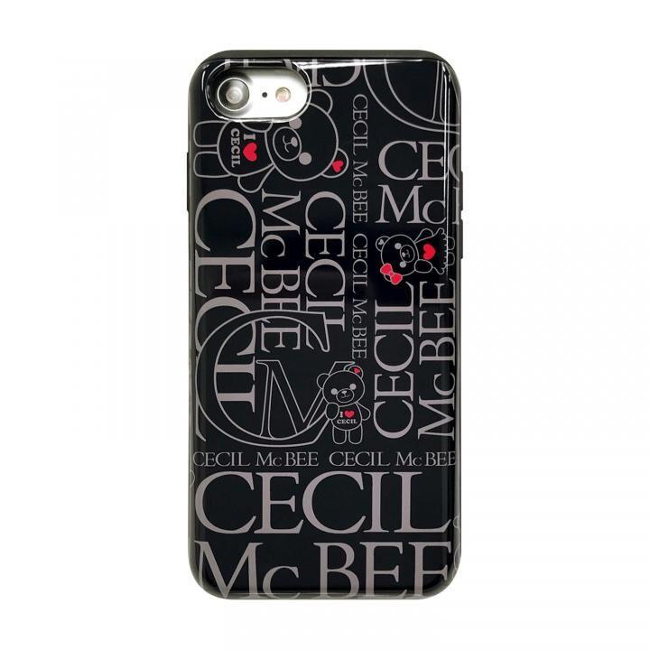 iPhone8/7/6s/6 ケース CECIL McBEE スタンドミラー付きカード収納型背面ケース LOGO/BLACK iPhone SE 第2世代/8/7/6s/6_0
