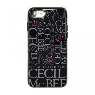 iPhone8/7/6s/6 ケース CECIL McBEE スタンドミラー付きカード収納型背面ケース LOGO/BLACK iPhone 8/7/6s/6