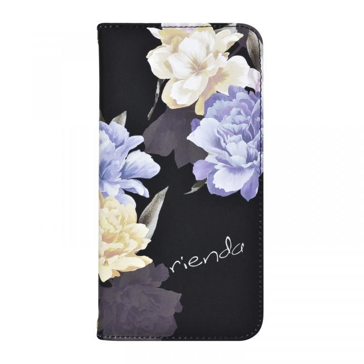 iPhone XS/X ケース rienda 全面 手帳型ケース Layer Flower/ブラック iPhone XS/X_0