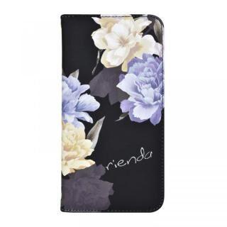 iPhone XS/X ケース rienda 全面 手帳型ケース Layer Flower/ブラック iPhone XS/X