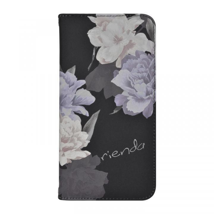 iPhone XR ケース rienda 全面 手帳型ケース Layer Flower/ブラック iPhone XR_0