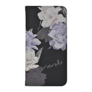iPhone XR ケース rienda 全面 手帳型ケース Layer Flower/ブラック iPhone XR