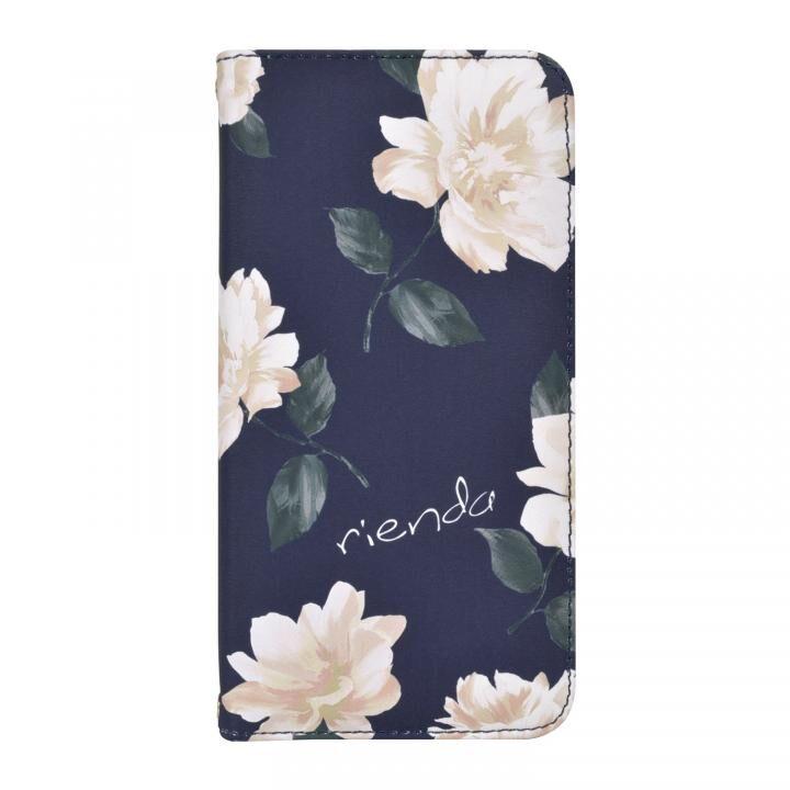 iPhone XR ケース rienda 全面 手帳型ケース Lace Flower/ネイビー iPhone XR_0