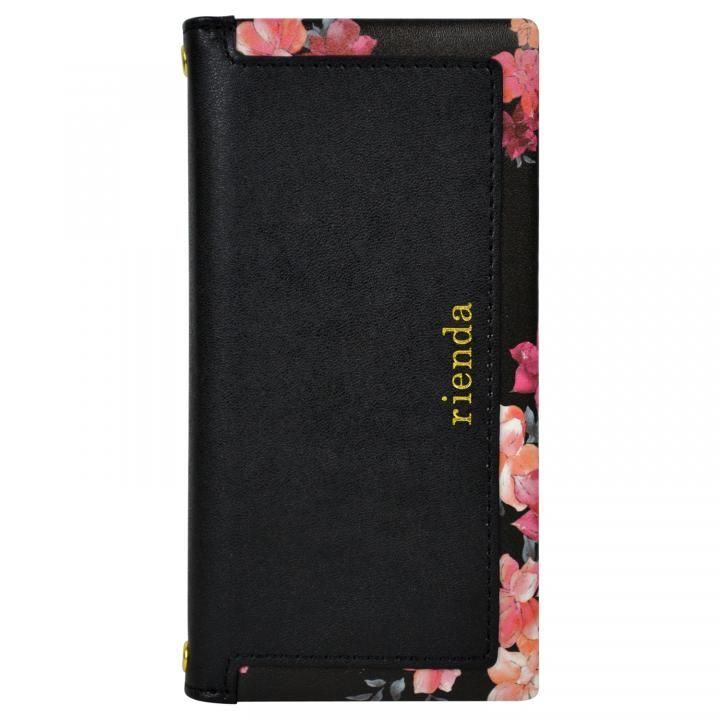 iPhone8/7/6s/6 ケース rienda スクエア 手帳型ケース Emerges Flower/ブラック iPhone SE 第2世代/8/7/6s/6_0