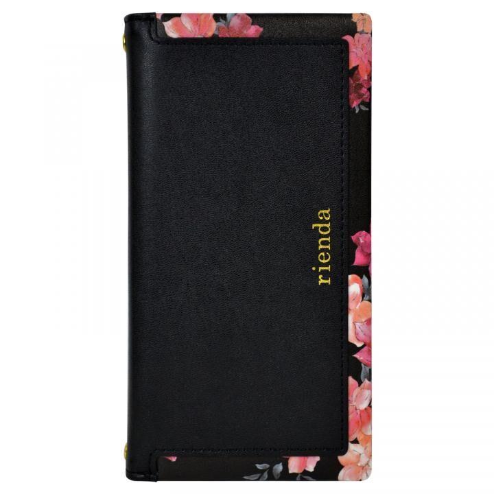 iPhone XR ケース rienda スクエア 手帳型ケース Emerges Flower/ブラック iPhone XR_0