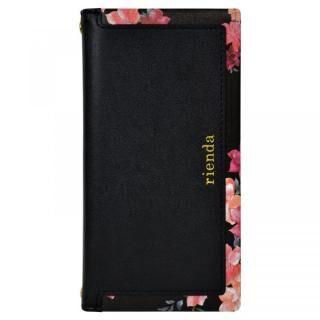 iPhone XR ケース rienda スクエア 手帳型ケース Emerges Flower/ブラック iPhone XR