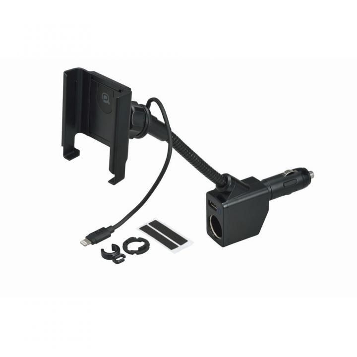 充電器付フレキホルダーL1 Lightning 1A USB(1A) 巻取(ブラック)_0
