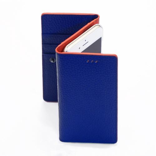 お財布付き手帳型ケース araree Z-folder ブルー+オレンジ iPhone 6