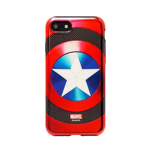 [2018新生活応援特価]MARVEL Design ハイブリッド メタリックケース キャプテン・アメリカ ブラック iPhone 7
