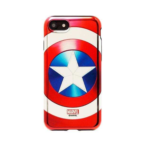 iPhone7 ケース MARVEL Design ハイブリッド メタリックケース キャプテン・アメリカ シルバー iPhone 7_0