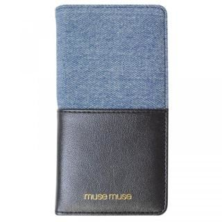 musemuse ハーフデニム 手帳型ケース ブラック iPhone XS/X