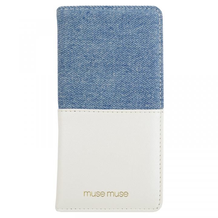 musemuse ハーフデニム 手帳型ケース ホワイト iPhone XS/X