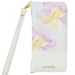 rienda バイカラーフラワー ロージー 手帳型ケース ホワイト iPhone X