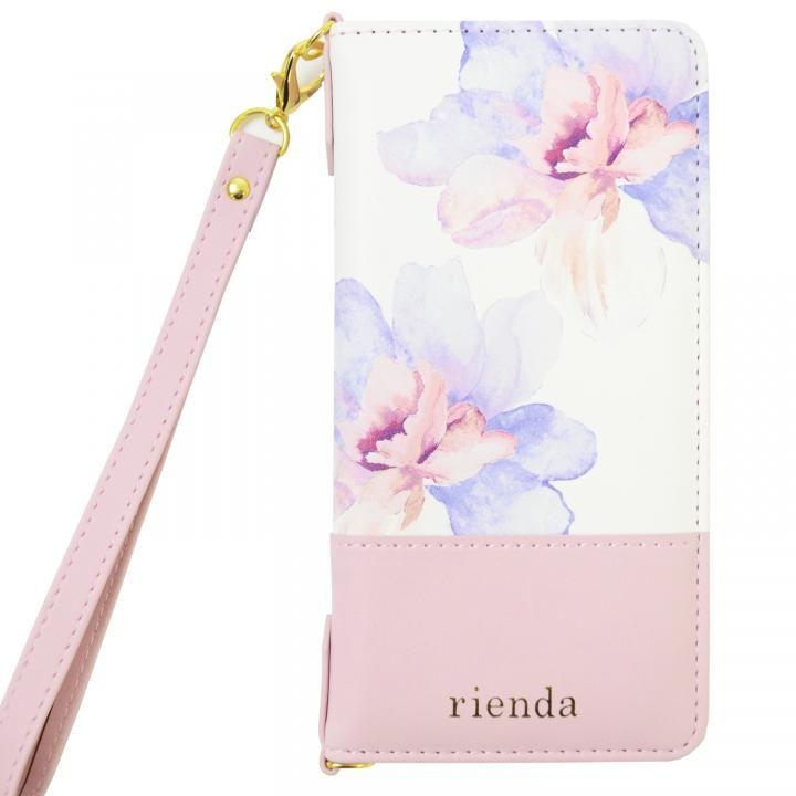 rienda バイカラーフラワー ロージー 手帳型ケース ピンク iPhone X
