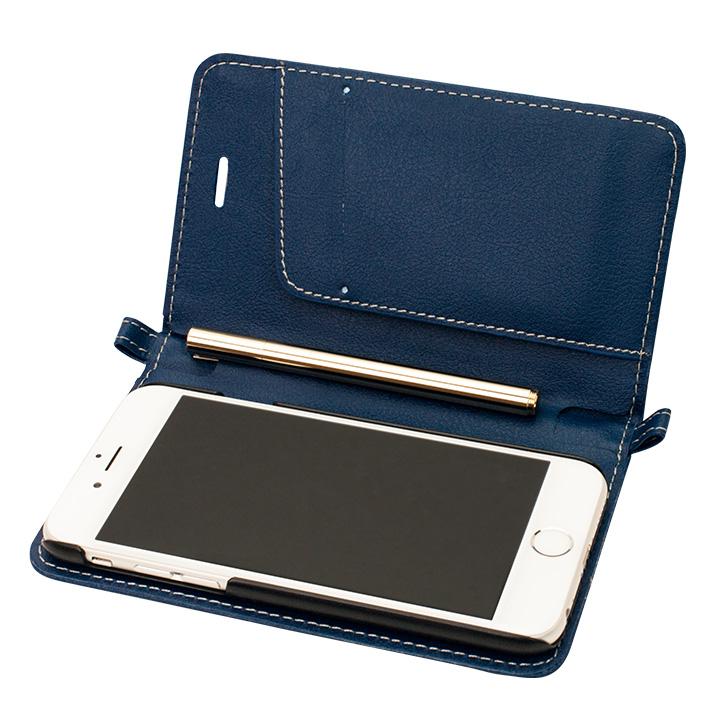 【iPhone6ケース】Su-Penホルダー付手帳型ケース+Su-Penスペシャルセット ディープブルー+ホワイトゴールド iPhone 6_0