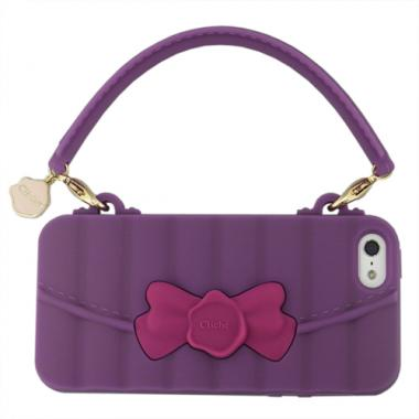 【iPhone SE/5s/5ケース】RIBBON HANDBAG SILICONE HANDLE iPhone SE/5s/5 PURPLE