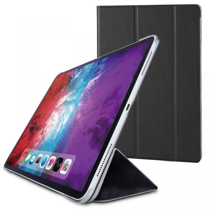 手帳型 背面 クリア ソフト レザー 合成皮 耐衝撃 超 薄型 軽量 ブラック iPad Pro 2020 12.9インチ_0
