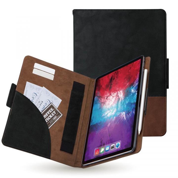 レザーケース 手帳型 カード収納 マグネット式フラップ ハンドベルト付 ブラック×ブラウン iPad Pro 2020/2018 11インチ_0
