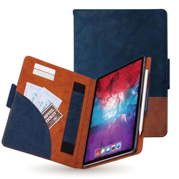 レザーケース 手帳型 カード収納 マグネット式フラップ ハンドベルト付 ブルー×ブラウン iPad Pro 2020 11インチ_0