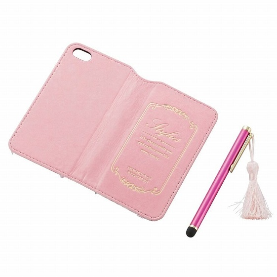 【iPhone SE/5s/5ケース】iPhone SE/5s/5用女子向けソフトレザー手帳型ケース ピンク×花柄_0