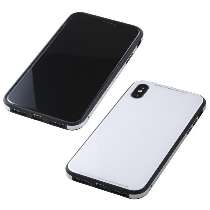 iPhone XS/X ケース Deff 強化ガラス/アルミ/TPU ハイブリッドケース UNIO ホワイト iPhone XS/X_0