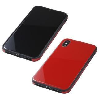 【iPhone XS/Xケース】Deff 強化ガラス/アルミ/TPU ハイブリッドケース UNIO レッド iPhone XS/X