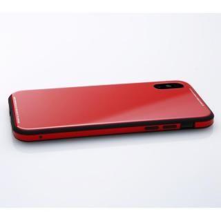 【iPhone XS/Xケース】Deff 強化ガラス/アルミ/TPU ハイブリッドケース UNIO レッド iPhone XS/X_1