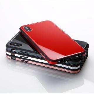 【iPhone XS/Xケース】Deff 強化ガラス/アルミ/TPU ハイブリッドケース UNIO レッド iPhone XS/X_2