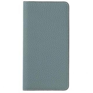 LORNA PASSONI German Shrunken Calf Folio Case for iPhone X [Light Blue]