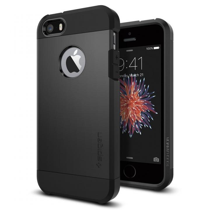【iPhone SE/5s/5ケース】Spigen タフ・アーマー 耐衝撃ケース ブラック iPhone SE/5s/5_0