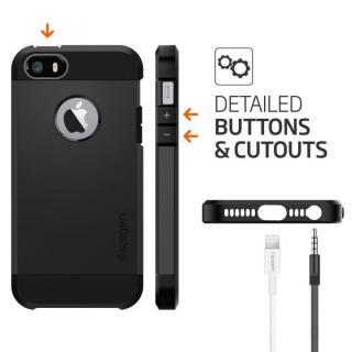 【iPhone SE/5s/5ケース】Spigen タフ・アーマー 耐衝撃ケース ブラック iPhone SE/5s/5_4