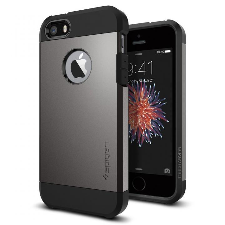 iPhone SE/5s/5 ケース Spigen タフ・アーマー 耐衝撃ケース ガンメタル iPhone SE/5s/5_0