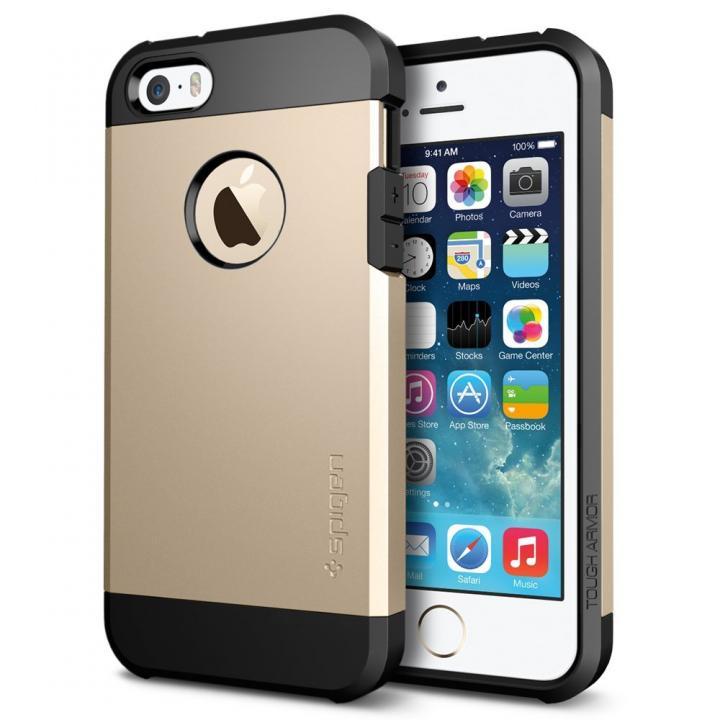 【iPhone SE/5s/5ケース】Spigen タフ・アーマー 耐衝撃ケース シャンパンゴールド iPhone SE/5s/5_0