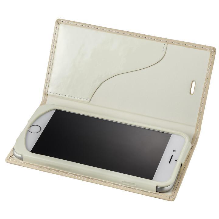 GRAMAS FEMME Ena エナメル調レザー手帳型ケース ベージュ iPhone 6s/6